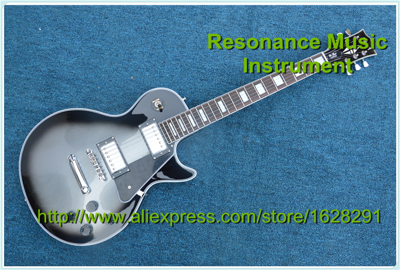 100% Real Pictures China Custom Shop Electric Guitar LP Silverburst Vintage One Piece Neck & Body high quality custom shop lp jazz hollow body electric guitar vibrato system rosewood fingerboard mahogany body guitar