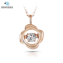 DovEggs 10K Rose Gold 0.1carat Small Diamond Pendant Necklace For Women Dancing Setting Link Chain Jewelry