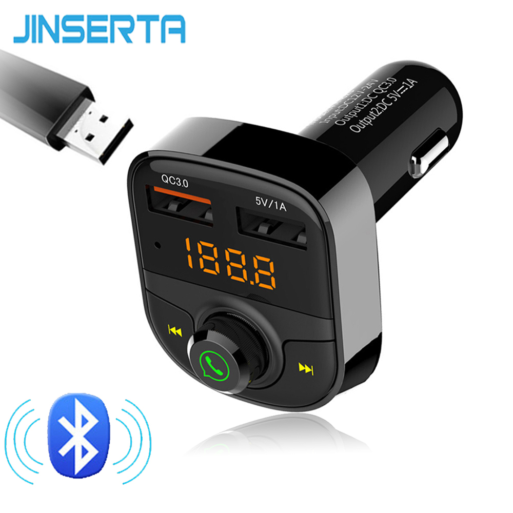 JINSERTA Black Car MP3 Player Bluetooth FM Transmitter Wireless Car Kit HandsFree Dual USB 3.0 Quick Charger USB Music play