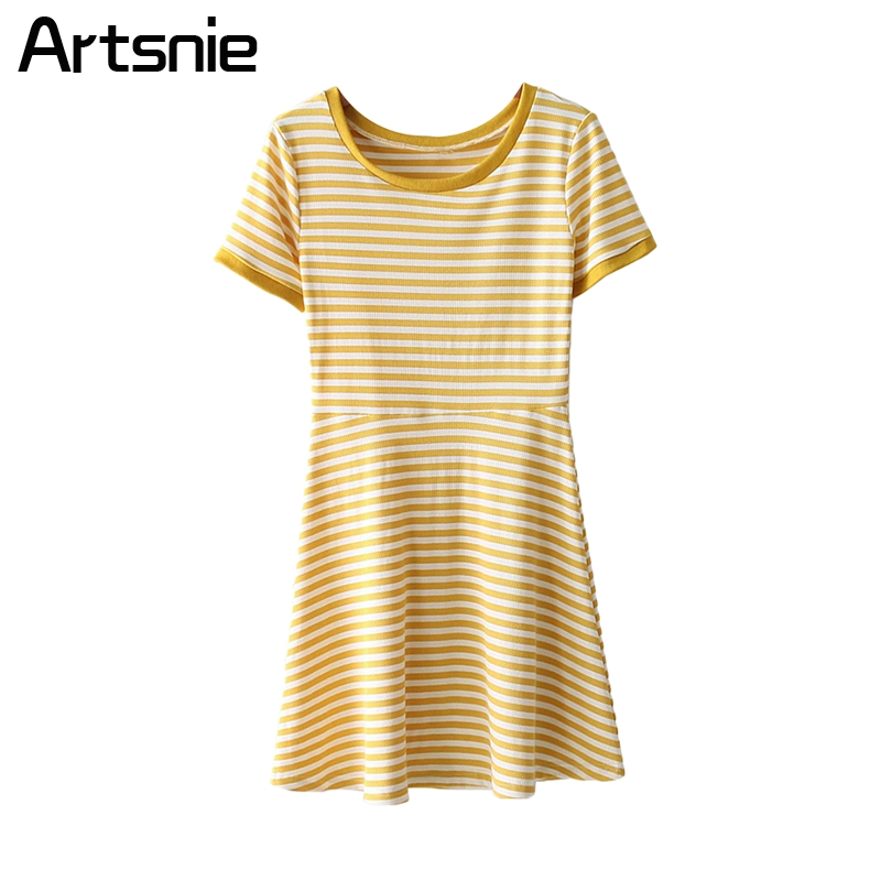 Artsnie Casual Striped High Waist O Neck Mini Dress Women Summer Beach Streetwear Knitted Short Ladies Sexy Dresses Vestidos женское платье bohemian i women summer beach dress 2015 o vestidos w0014