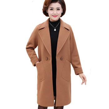 Plus Size 4XL Autumn Winter Long Wool Coat Jacket Women Chaqueta Mujer Middle-Age Women Woolen Coat Elegant Parka Overcoat C4852