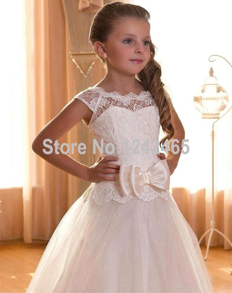 Nuevo Estilo Ivory Lace Flower Girl Dress 2016 For Partido