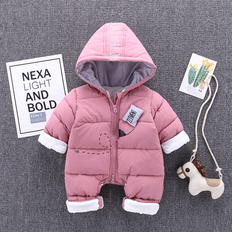 все цены на Newborn Baby Romper Infant Clothing 2018 New Winter Baby Girl Clothes Kids Hooded Warm Children Outdoor Rompers Baby Jumpsuit онлайн