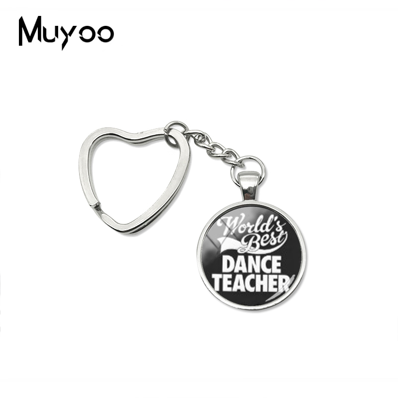 2019 New Worlds Best Dance Teacher Heart Keychain Handmade Photo Key Chain Glass Cabochon Jewelry image