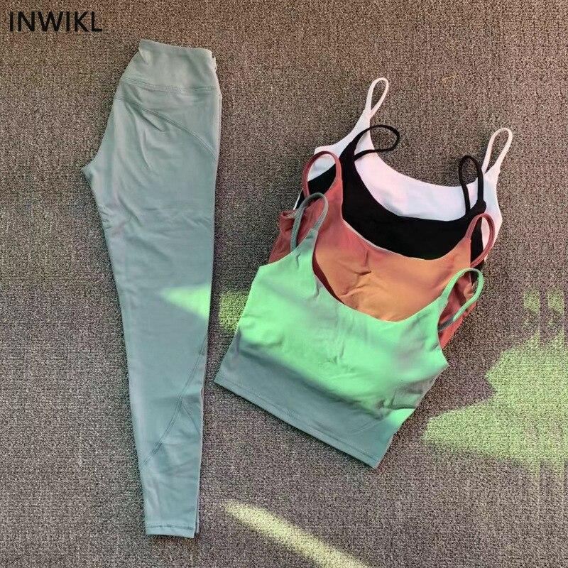 Femme yoga costume 2 pièces ensembles taille haute hanche yoga pantalon beauté dos soutien-gorge femmes Fitness Sport porter Gym entraînement haut court survêtement