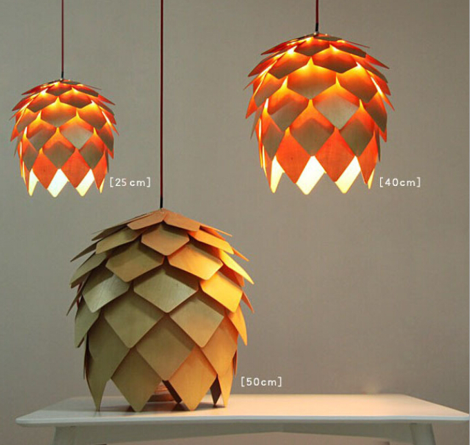 modern art oak wooden pinecone led pendant lights wood ph. Black Bedroom Furniture Sets. Home Design Ideas
