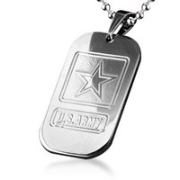 Military Jewelry U.S Army Titanium Steel Dog Tag Pendant Necklace Free Shipping Wholesale