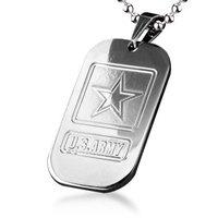 Quân Sức Quân Đội MỸ Titanium Steel Dog Tag Pendant Necklace Miễn Phí Vận Chuyển Bán Buôn