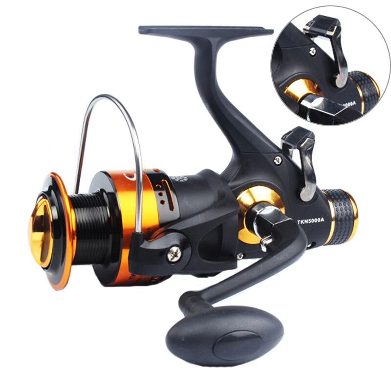 Novo design de freio duplo carretel de pesca carpa super forte alimentador de pesca molinete fiação roda haste combo