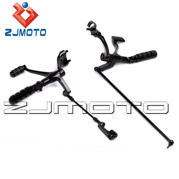 ZJMOTO Black motorcycle Forward Control Footrest kit For