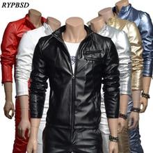 New 2019 Mens Leather Jacket Velvet Korean Fashion PU Faux Mandarin Collar Thick Zipper Men 7 Colors