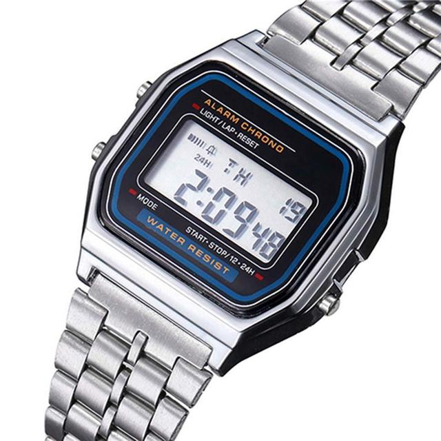 2018 Alipower Vintage Womens Men Clock Stainless Steel Digital Alarm Stopwatch Wrist Watch Men's Watch Relogio Masculino femme