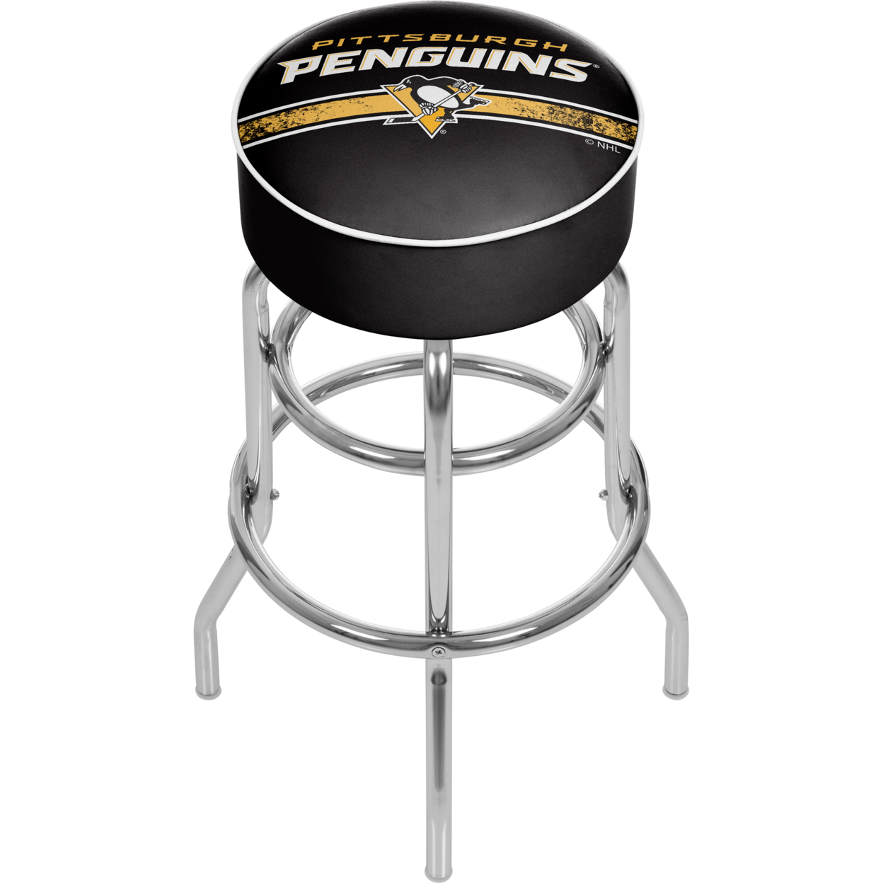 цены NHL Chrome Padded Swivel Bar Stool 30 Inches High - Pittsburgh Penguins