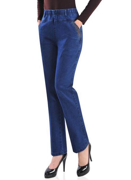 2017 new Spring autumn embroidered jeans female high elastic waist plus size women long pants T914