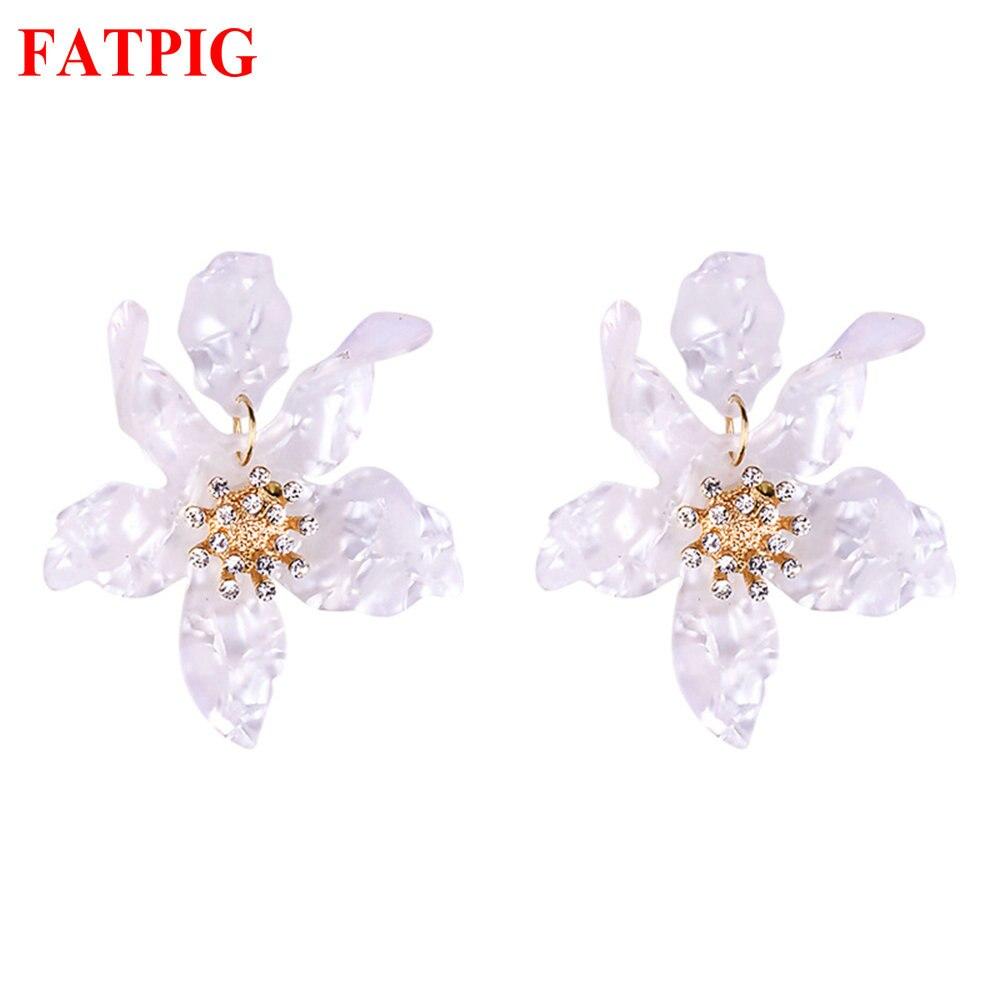 Aliexpresscom  Buy Big White Flowers Studs Earring For Woman Girls Elegant Green -7734