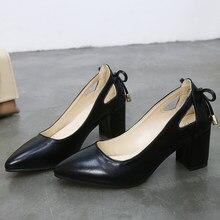 Escarpins en cuir noir pour femmes, de haute qualité, chaussures de mariage carrées, couleur Pure, 6CM, tendance, grande taille 44, 2019