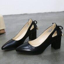 Yüksek kaliteli kadın pompaları saf renk kare yüksek topuklu 6CM 2019 moda siyah deri sığ düğün ayakkabı kadın büyük boyutu 44