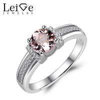 Leige Jewelry Authentic Morganite Ring Pink Gemstone Engagement Rings for Women Round Cut Sterling Silver 925 Fine Jewelry