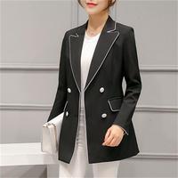 Blazer Feminin 2018 Ms. Black White Tweed Blazer Ol Style Slim Jacket One Piece Suit Girls Office Jacket Elegant 2xl