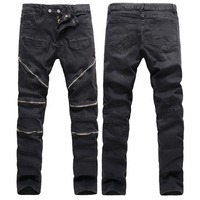High Quality Men Biker Jeans With Zippers 2016 Brand Mens Retro Slim Jeans Black Skinny Cotton