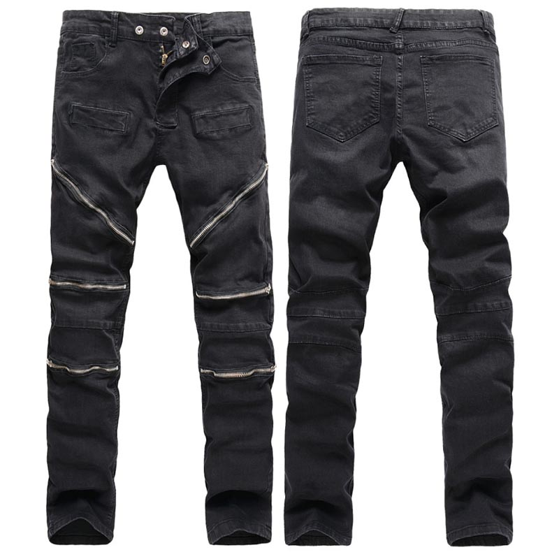 ФОТО High Quality Men Biker Jeans With Zippers 2016 Brand Mens Retro Slim Jeans Black Skinny Cotton Jean Denim Overalls Men Masculino