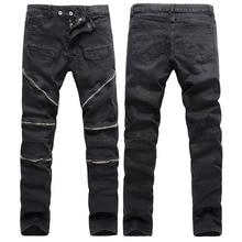 High Quality Men Biker Jeans With Zippers 2016 Brand Mens Retro Slim Jeans Black Skinny Cotton Jean Denim Overalls Men Masculino