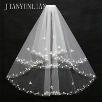 Charming White/Ivory Bridal Veil Two Layer Soft Tulle Wedding Accessories Wedding Veils With Crystal
