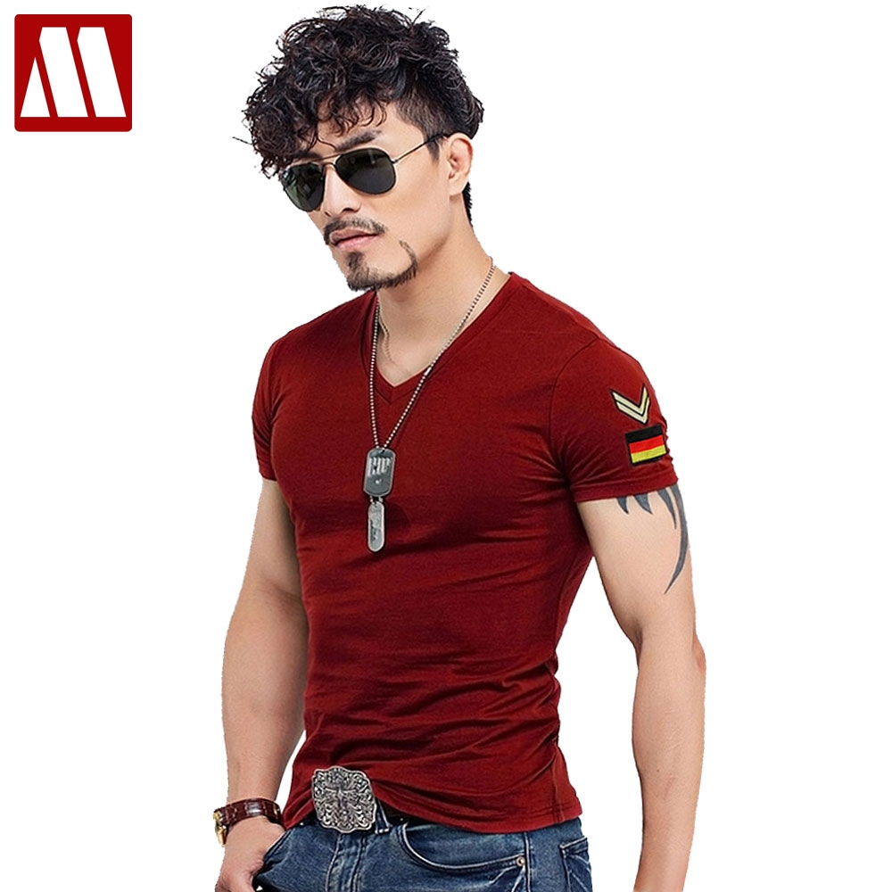 7911d0f76 Summer Casual Slim Fit V Neck T Shirts For Men Armband Short Sleeve Army  Green Plus Size Men's T-Shirt Cotton TShirt Clothing