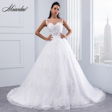 Miaoduo Ball Gown Wedding Dresses 2019 Lace Appliques Sleeveless Bridal Gowns Crystal Sashes Vestido De Novias hochzeitkleid New(China)