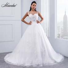 Miaoduo Ball Gown Wedding Dresses 2020 Lace Appliques Sleeveless Bridal Gowns Crystal Sashes Vestido De Novias hochzeitkleid New