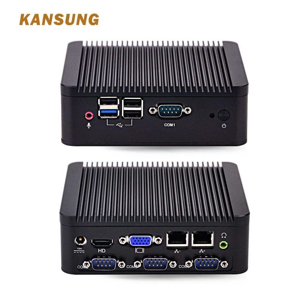 KANSUNG Fanless Mini PC Bay Trail J1900 Quad Core 2NIC 4 COM Running 24/7 Industrial Computer Barebone System Mini PC 12V