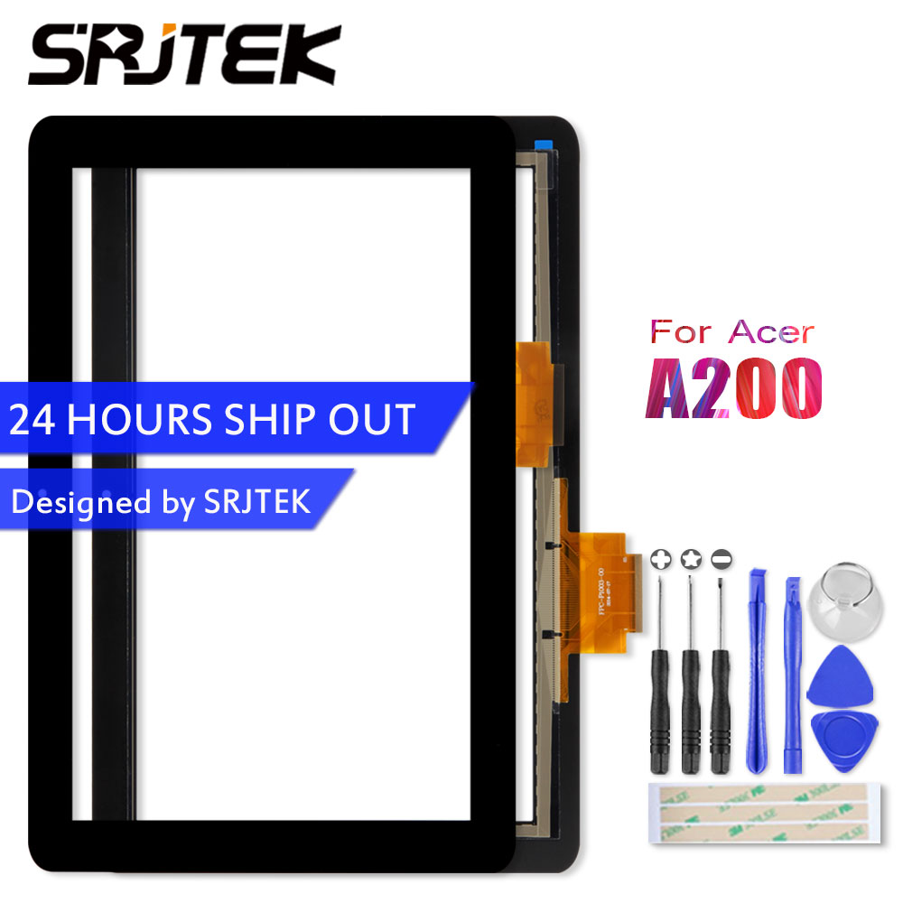SRJTEK 10.1 For Acer Iconia Tab A200 Tablet PC Front Outter Touch Screen Panel Digitizer Sensor Glass Replacement Parts new 12v 1 5a for acer iconia tab a510 a511 a700 a701 tablet charger ac dc adapter acer cable charging free shipping