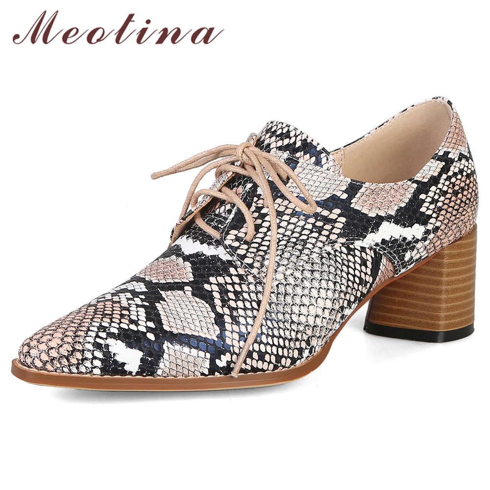 Meotina High Heels Women Shoes Sneak Print Thick High Heels Shoes Fashion Lace Up Pointed Toe Shoes Female White Plus Size 33-43