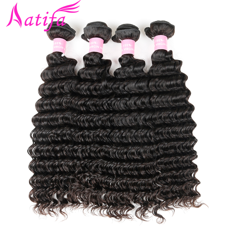 Malaysian Deep Wave Hair 1/3/4 pcs Bundles de tissage de cheveux - Cheveux humains (noir) - Photo 2