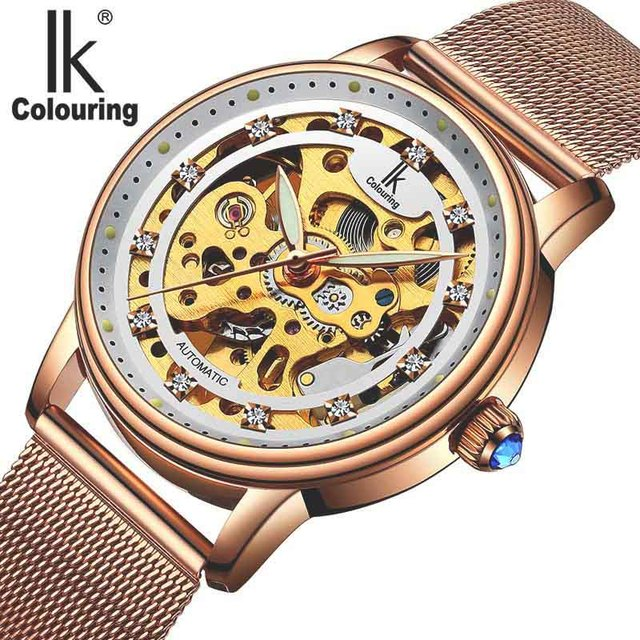 e10719cf0af Mulheres Assistem Marca De Luxo Moda Casual Ladies Watch Vestido Relógio  mecânico automático oco Mulher Relógio