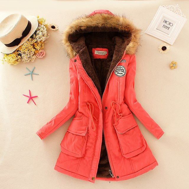 19 Winter New Women's Hooded Fur Collar Waist And Velvet Thick Warm Long Cotton Coat Jacket Coat 14