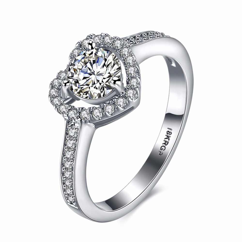 b2b4340e2f Fashion Engagement Rings Elegant Heart Rings Women Wedding Cubic Zircon  Jewelry Lover Promise Rings(RI102217