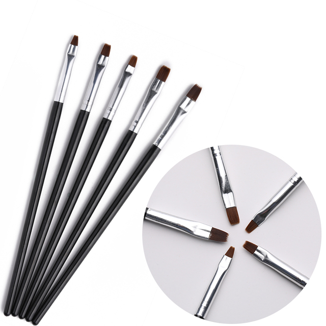 5Pcs/Set Nail Art UV Brushes Nail Extension Gel Polish Mixed Shape Flower Painting Drawing Acrylic Brush Nail Tools