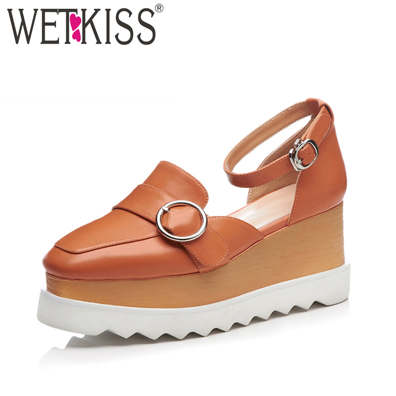 WETKISS Summer Women Sandals Wedges Metal Decoration Cow Leather Footwear Fashion 2018 New Casual Platform High Heels Girl Shoes woman fashion high heels sandals women genuine leather buckle summer shoes brand new wedges casual platform sandal gold silver