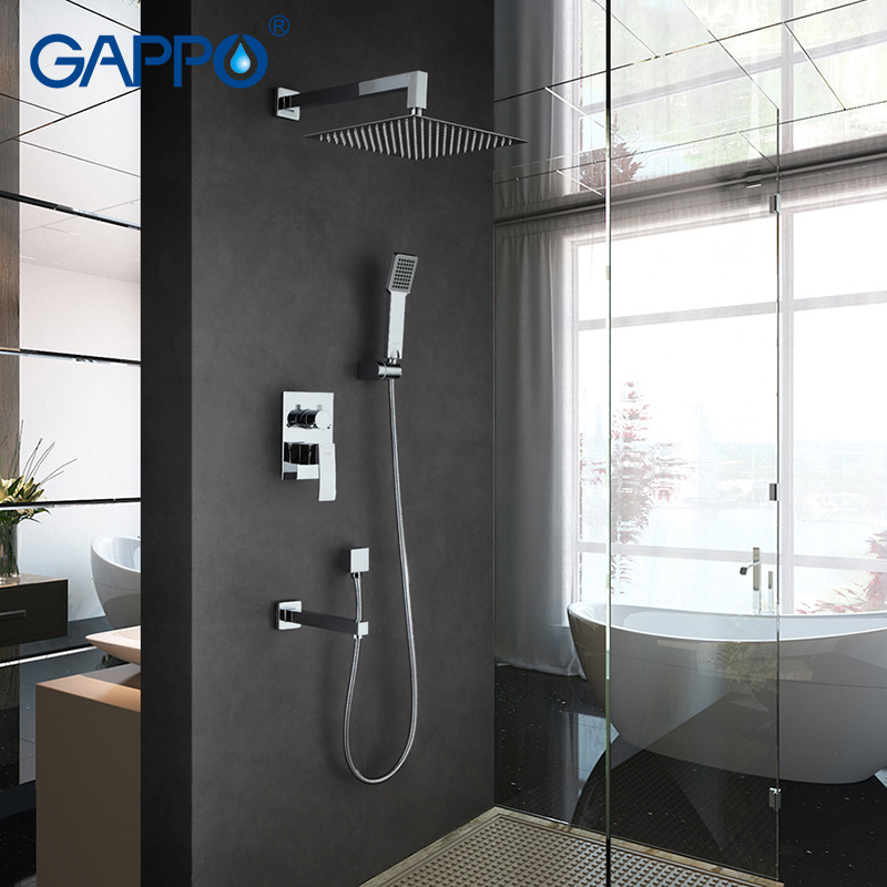 GAPPO Wall bathroom shower faucet set bronze rainfall shower faucet chrome bathtub faucet tap waterfall head Bath Shower GA7102 gappo classic chrome bathroom shower faucet bath faucet mixer tap with hand shower head set wall mounted g3260