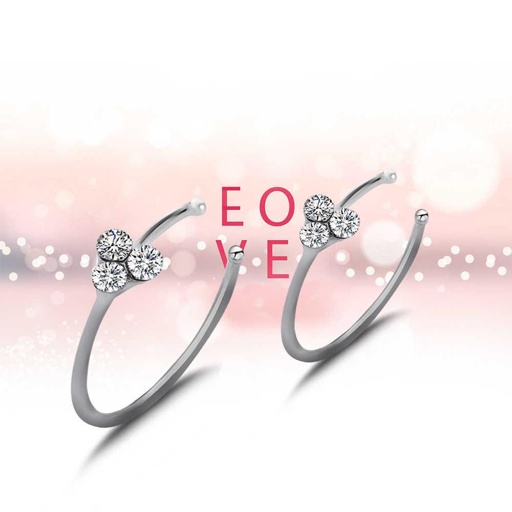 1 para cienkie 3 kryształ posrebrzane kolczyk w nosie Hoop Stud świecący kryształ nos pierścień kolczyki biżuteria Brincos Bijoux