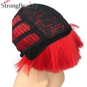 Image 5 - StrongBeauty קצר יקי ישר סינטטי פאות אדום/לבן/בלונדינית/שחור פטריות ראש פאה חום שיער עמיד