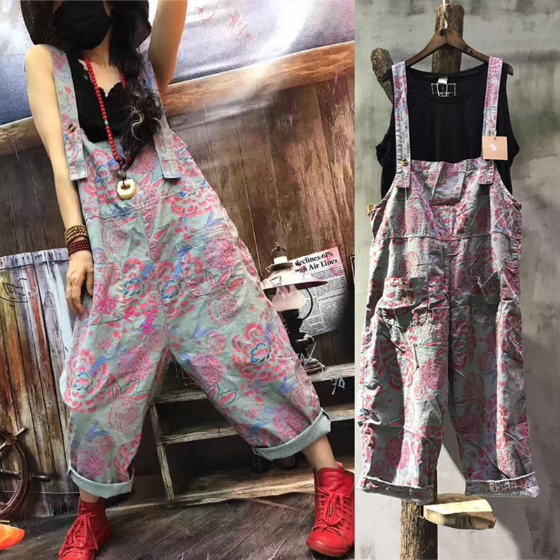 Free Shipping 2017 New Fashion Ladies Print Overalls Wide Leg Cotton Loose Jumpsuits And Rompers With Pockets Plus Size Jumpsuit стоимость