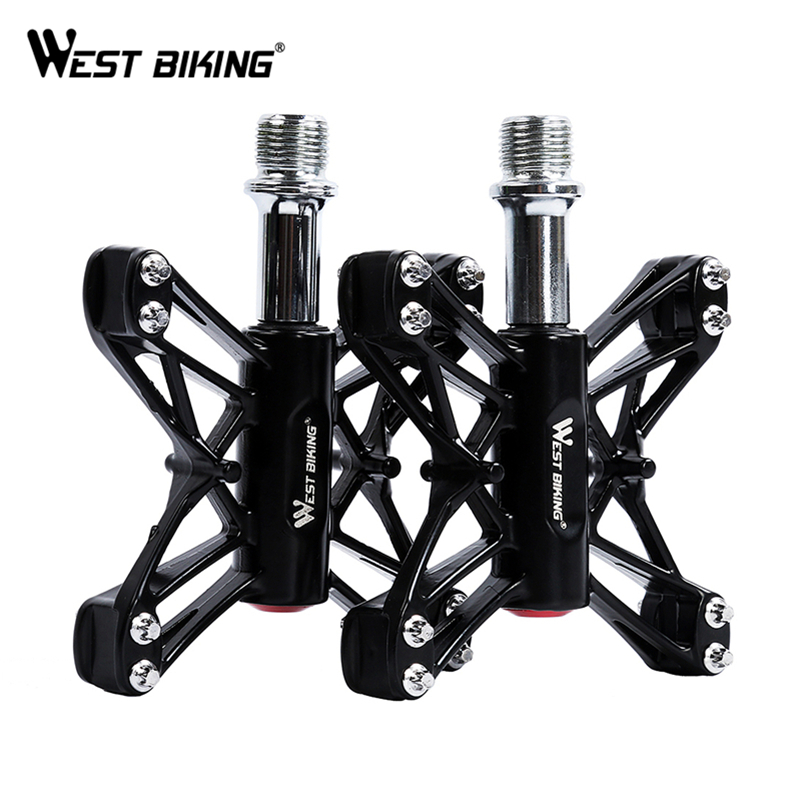 WEST BIKING 3 Bearings Bicycle Pedals Ultralight Mountain Bike Pedal Road Cycling Pedals Magnesium Flat Pedals Terrain Titanium 3 bearings axle 2pcs 16t kactus ultralight mountain bike pedal road cycling magnesium pedals platform terrain titanium