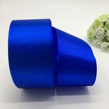 5 jardas/lote 50 milímetros Blue Satin Ribbon Bow Craft Decor Festa de Natal Do Casamento Decoração do Ofício DIY Costura Suprimentos