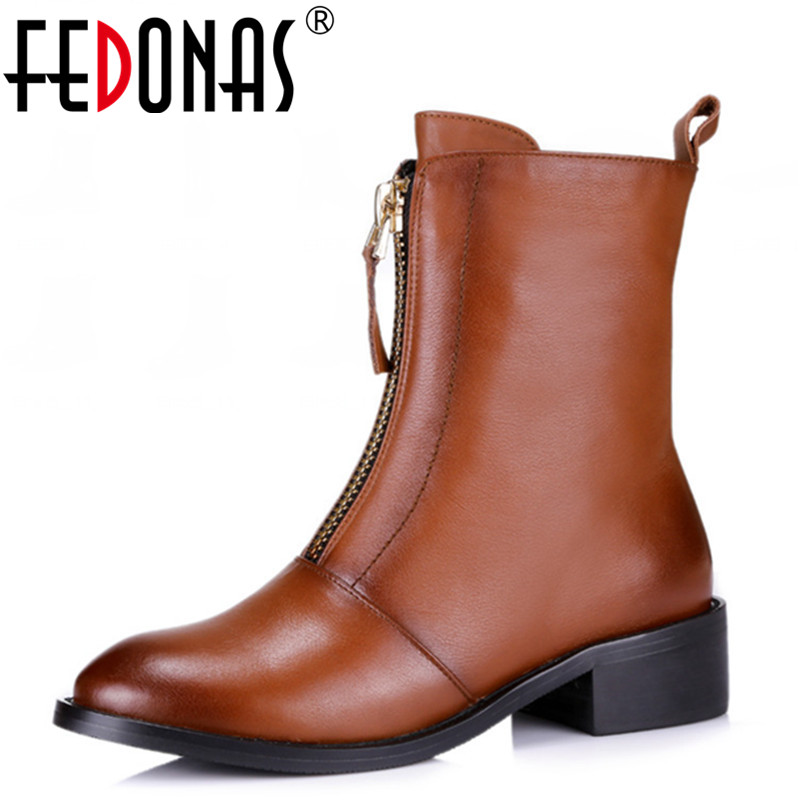 FEDONAS Women High quality PU + Genuine Leather Boots Punk Square Heels Autumn Winter Ankle Boots Sexy Shoes Motorcycle Boots