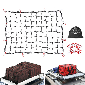 High Quality Heavy Duty Latex Cargo Net New Hook Elastic Car Trailer Roof Rack Boot Luggage Bungee Cord Cargo Net Black image