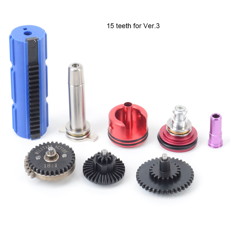 18:1 High Speed Gear 14/15 Teeth Piston Cylinder Piston Head Spring Guide Nozzle Tune-Up Set for M4/AK series Airsoft AEG/GBB цена