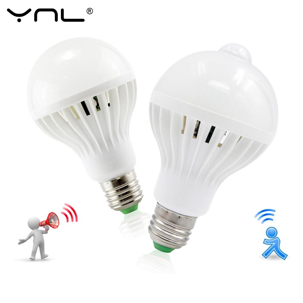 LED PIR Motion Sensor Led Buld E27 PLUG 220v 3w 5w 7w 9w 12w White Auto Smart PIR Infrared Body Sound +  Light White Lampada