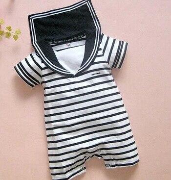 Venta al por menor de algodón bebé niño marino marinero mono traje de verano de manga corta ropa blanco negro rayas Sailor Collar mono